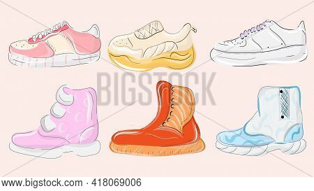 Various Shoes For Training And Sport Recreation, Different Colorful Footwear. Men S And Women S Foot