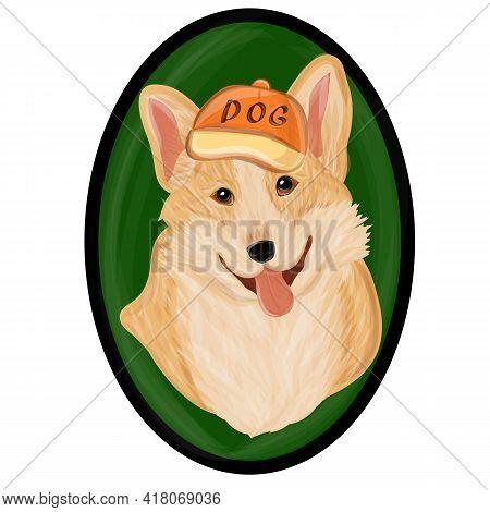 Kawaii Playful Corgi. Corgi Dog Cute Cartoon Vector Portrait. Vector Illustraton Eps10