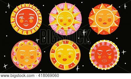Sun Emoji. Funny Summer Sunshine, Sun Baby Happy Morning Emoticons. Smiling Sun With Sunbeams Cartoo