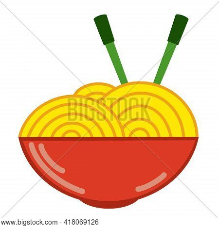 Chinese Noodles Vector Icon. An Isolated Image Of Noodles In A Red Plate With Chopsticks. Simple Car