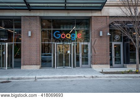 Chicago, Il April 2, 2021, Google Chicago Fulton Market Headquarters Sign On Front Entrance Of Build