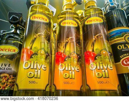 Iberica Extra Virgin Olive Oil Extra Virgin On Sale In The Hypermarket 11.04. 2021 In Russia, Kazan,