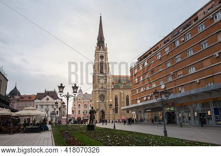 Novi Sad, Serbia - March 11, 2017: The Name Of Mary Church, Or Novi Sad Catholic Cathedral On A Clou