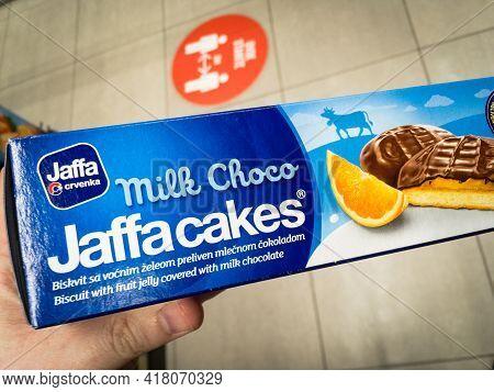 Belgrade, Serbia - April 20 2021: Logo Of Jaffa Crvenka On A Box Of Orange Flavored Jaffa Cakes For