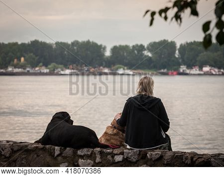Belgrade, Serbia - July 26, 2020: Woman, Alone, Sitting Outside With Her Two Dogs, Laying Down Near