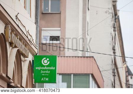 Pancevo, Serbia - April 18, 2021: Vojvodjanska Banka New Logo On Their Main Office. Vojvodanska Logo