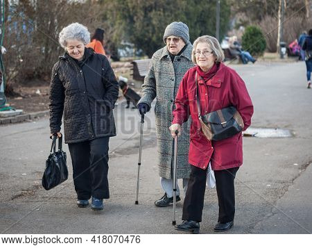 Belgrade, Serbia - January 27 2017: Group Of Old Women, Grandmothers, Serbs, Friends, Walking And Sm