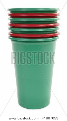 Seven plastic cups red and green