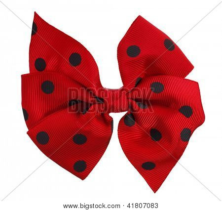 Hair bow tie red with black dots