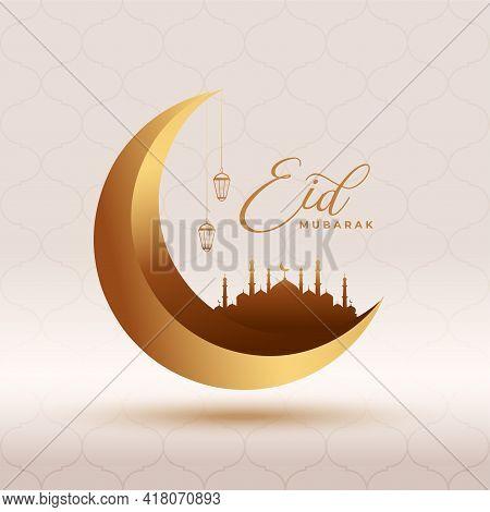 Eid Mubarak 3d Card Beautiful Design Vector Illustration