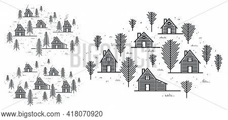 Rural Village In Woods Linear Vector Illustration Isolated On White, Wooden Houses In Trees Forest L