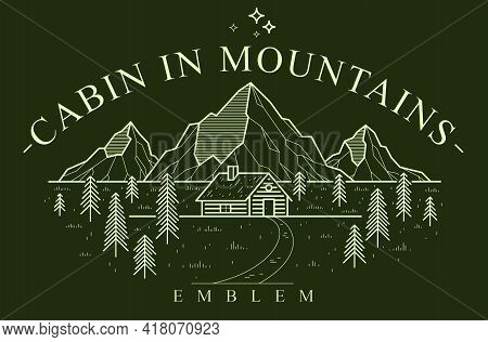 Log Cabin Wooden House In Pine Forest Over Mountain Range Vector Nature Emblem On Dark, Cottage Wood