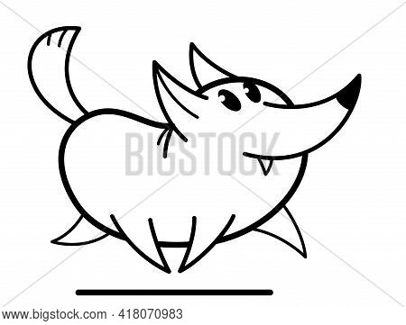 Funny Cartoon Fox Running Brave And Positive Flat Vector Illustration Isolated On White, Wildlife An