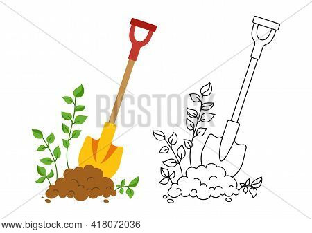 Shovel In Ground Set Black Line Icon, Cartoon Style. Work Tool For Outdoor Activities Digging Symbol