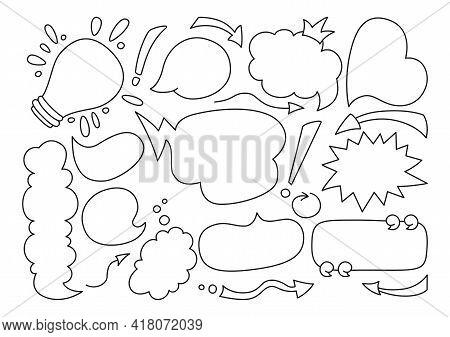 Speech Bubble Comic Black Line Doodle Set. Pop Art Design Elements Dialog Clouds With Text, Sketch B