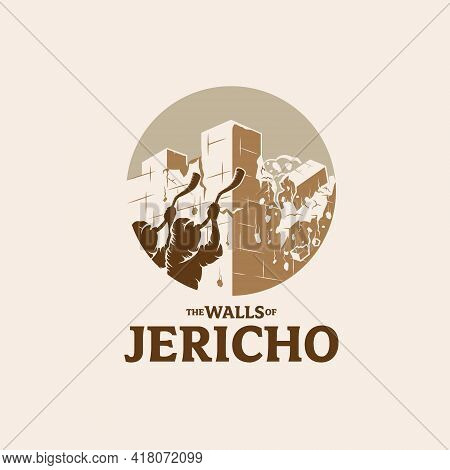 The Walls Of Jericho Is Falling Down Symbol Vector Illustration Vintage Style