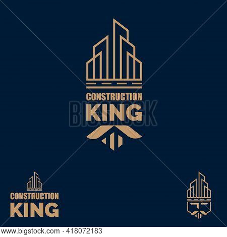 Construction King. King Of Buildings, Logo Concept With Crown  Building Shape And A Face Of A King.
