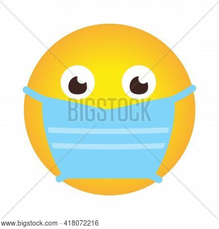 Closeup Emoji Icon In Medical Mask. Emoticon Smile In Cartoon Style In Face Protective Mask As Sign
