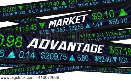 Market Advantage Stock Best Top Opportunity Proft Earnings Prices Ticker 3d Illustration