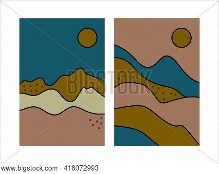 Boho Style Landscape. Set Of Posters With Nature. Terracotta Retro Abstract Landscape With Mountains