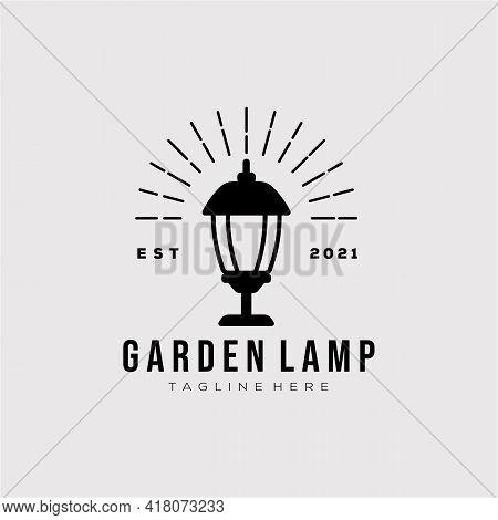 Garden Lamp Isolated Vintage Logo Template Illustration Design. Simple Bright Light, Lamp, Lantern,