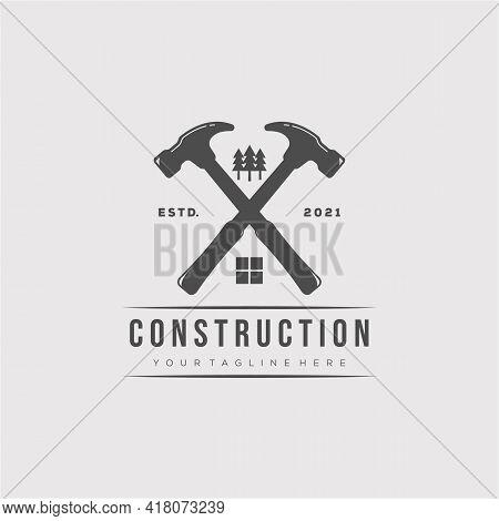 Vintage Hammer Logo Vector Illustration Design. Real Estate Construction Logo Symbol