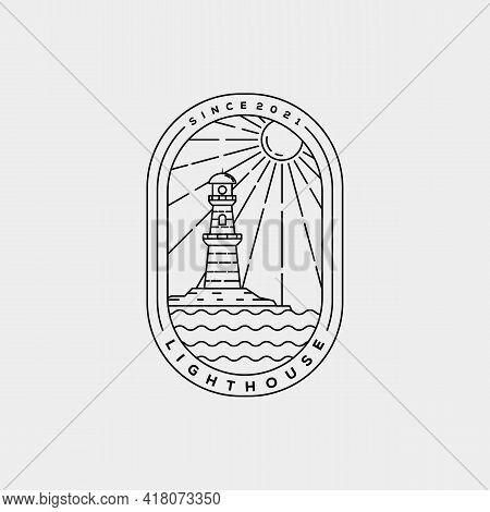 Minimalist Lighthouse Harbor Line Art Logo Template Vector Illustration Design