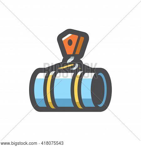 Pipe Laying Crane Vector Icon Cartoon Illustration