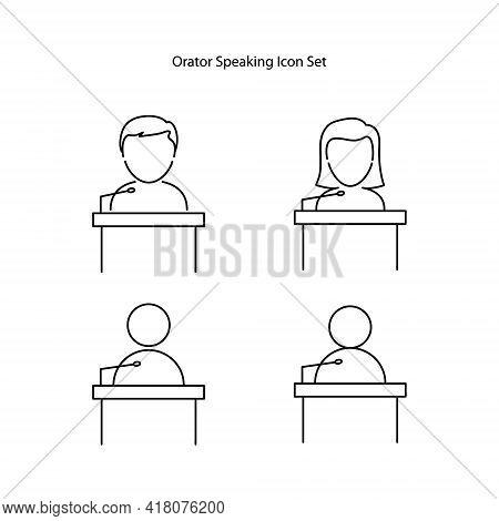 Black Line Speaker Icon Set Isolated On White Background. Orator Speaking From Tribune. Public Speec