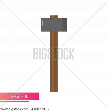 An Angular Sledgehammer With A Wooden Handle. Realistic Design. On A White Background. Tools For The