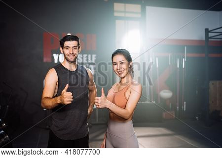 Portrait Of Couple Smiling Exercise Workout In Gym Healthy Lifestyle Bodybuilding, Athlete Builder M