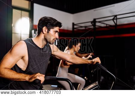 Athlete Sporty Group Cardio Exercise Burning Calorie In Fitness Gym Fit Body Healthy Lifestyle Athle