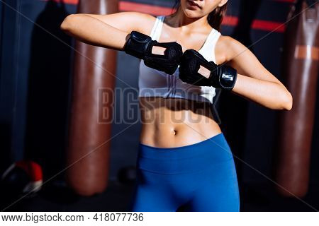 Endurance Boxer Woman Ready Fight Boxing Exercise Workout Fit Body Healthy Lifestyle Athlete Muscle