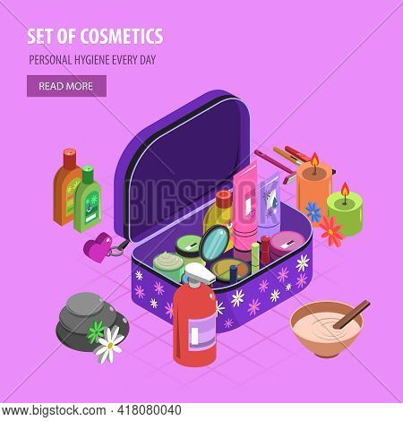 Bodycare Bag Isometric With Fashion And Cosmetic Accessory Set Vector Illustration