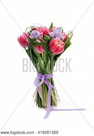 Beautiful Red Tulips Iwith Green Grass And Hyacinth Isolated On White Background