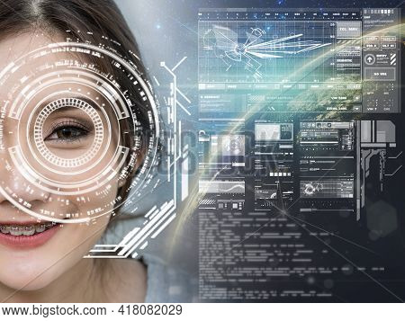 Asian Women Being Futuristic Vision Over The Part Of Earth And Milky Way,digital Technology Screen O