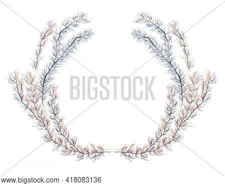 Round Delicate Herbal Frame With A Steppe Plants With Thorns. Vector Sketch Wreath For Logos, Icons