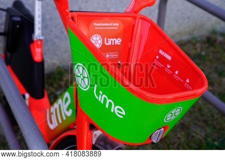 Bordeaux , Aquitaine France - 04 22 2021 : Lime App Sign Brand And Text Logo On Rent Bike E-scooter