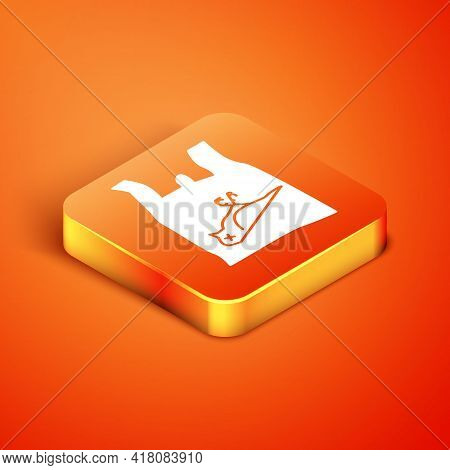 Isometric Dead Bird, Plastic Icon Isolated On Orange Background. Element Of Pollution Problems Sign.