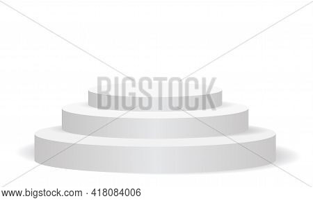 Realistic White Empty Round Podium Three Step 3d On Isolated For Stage Show Exhibition Background Ve