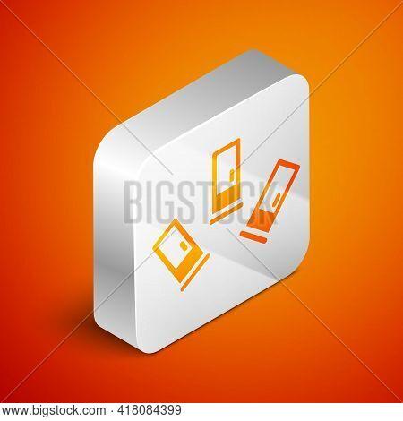 Isometric Cartridges Icon Isolated On Orange Background. Shotgun Hunting Firearms Cartridge. Hunt Ri