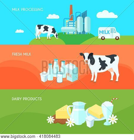 Milk Farm Dairy Products Flat Horizontal Banners Set With Cream Yoghurt And Cheese Abstract Isolated