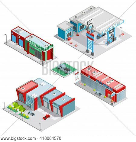 Modern Auto Service Facilities Isometric Composition With Gas Station And Car Wash Buildings Abstrac