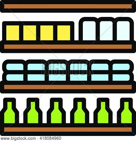 Supermarket Shelf Icon, Supermarket And Shopping Mall Related Vector Illustration