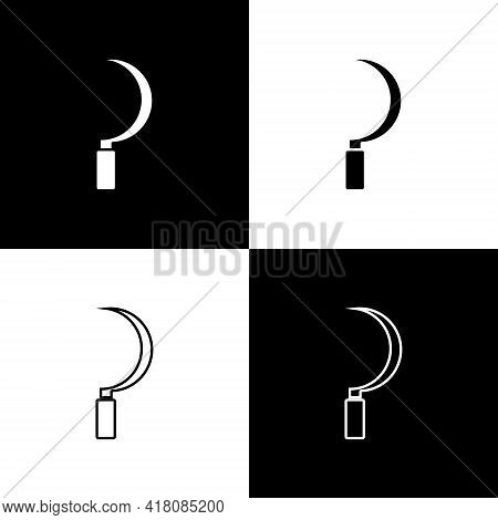 Set Sickle Icon Isolated On Black And White Background. Reaping Hook Sign. Vector