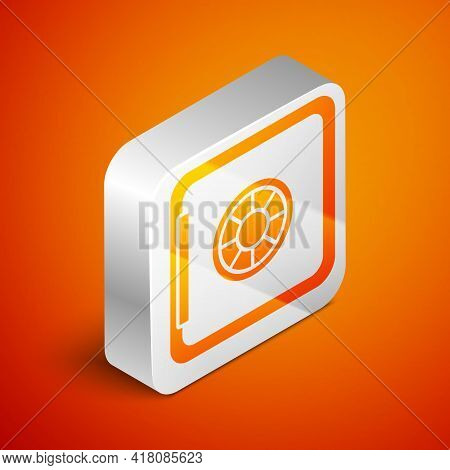 Isometric Safe Icon Isolated On Orange Background. The Door Safe A Bank Vault With A Combination Loc