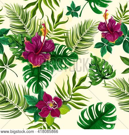 Exotic Tropical Rainforest Plants Opulent Green Leaves With Hibiscus Flowers Wrap Paper Seamless Pat
