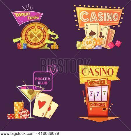 Royal Casino Retro Cartoon 2x2 Icons Set With Poker Club Slot Machine Chips And Gain On Purple Backg