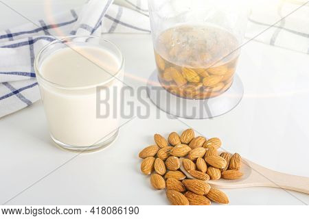 Step By Step Recipe. Cooking Nuts Vegetable Milk. Step 3 Cooked  Almonds Milk In Glass. Homemade Foo
