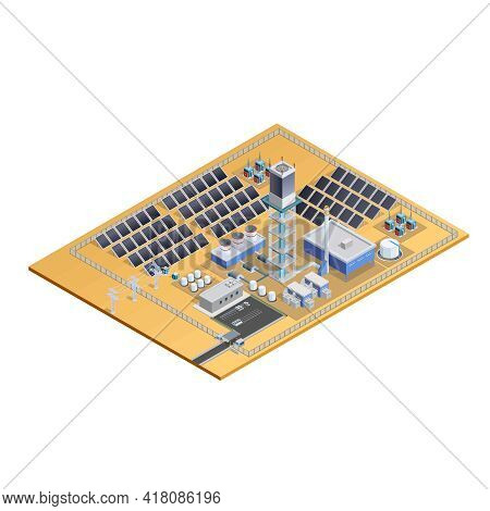 Model Of Solar Station Complex With Mirror Plates Tower Transformers Control Centre And Parking Isom